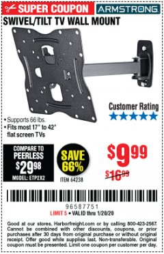 Harbor Freight Coupon SWIVEL/TILT TV WALL MOUNT Lot No. 64238 Expired: 1/20/20 - $9.99