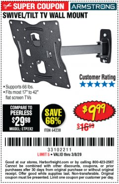 Harbor Freight Coupon SWIVEL/TILT TV WALL MOUNT Lot No. 64238 Expired: 2/8/20 - $9.99