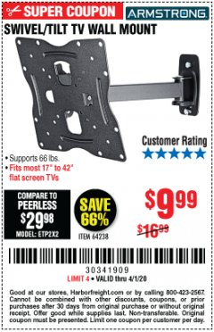 Harbor Freight Coupon SWIVEL/TILT TV WALL MOUNT Lot No. 64238 Valid Thru: 4/1/20 - $9.99