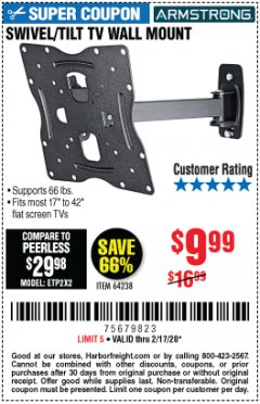 Harbor Freight Coupon SWIVEL/TILT TV WALL MOUNT Lot No. 64238 Expired: 2/17/20 - $9.99