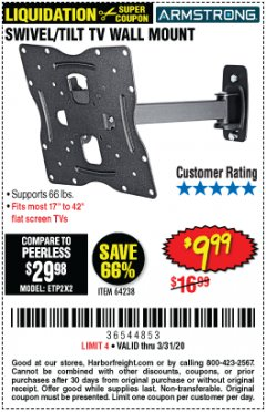 Harbor Freight Coupon SWIVEL/TILT TV WALL MOUNT Lot No. 64238 Valid Thru: 3/31/20 - $9.99
