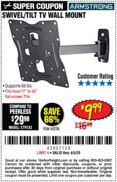 Harbor Freight Coupon SWIVEL/TILT TV WALL MOUNT Lot No. 64238 Valid: 3/8/20 - 4/5/20 - $9.99