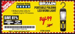 Harbor Freight Coupon PORTABLE FOLDING LED WORK LIGHT Lot No. 63930 Expired: 2/16/19 - $4.99