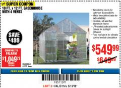 Harbor Freight Coupon 10 FT. X 12 FT. ALUMINUM GREENHOUSE WITH 4 VENTS Lot No. 69893/93358/63353 Expired: 5/13/18 - $549.99