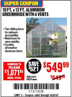 Harbor Freight Coupon 10 FT. X 12 FT. ALUMINUM GREENHOUSE WITH 4 VENTS Lot No. 69893/93358/63353 Expired: 6/25/18 - $549.99