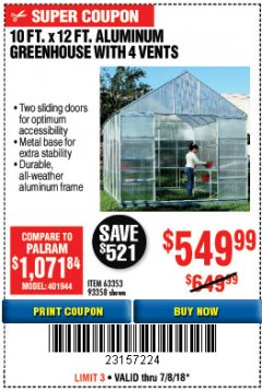 Harbor Freight Coupon 10 FT. X 12 FT. ALUMINUM GREENHOUSE WITH 4 VENTS Lot No. 69893/93358/63353 Expired: 7/18/18 - $549.99