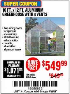 Harbor Freight Coupon 10 FT. X 12 FT. ALUMINUM GREENHOUSE WITH 4 VENTS Lot No. 69893/93358/63353 Expired: 7/23/18 - $549.99