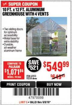 Harbor Freight Coupon 10 FT. X 12 FT. ALUMINUM GREENHOUSE WITH 4 VENTS Lot No. 69893/93358/63353 Expired: 9/9/18 - $549.99