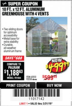 Harbor Freight Coupon 10 FT. X 12 FT. ALUMINUM GREENHOUSE WITH 4 VENTS Lot No. 69893/93358/63353 Expired: 5/31/19 - $499.99