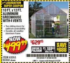 Harbor Freight Coupon 10 FT. X 12 FT. ALUMINUM GREENHOUSE WITH 4 VENTS Lot No. 69893/93358/63353 Expired: 6/30/20 - $499.99