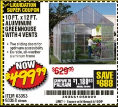 Harbor Freight Coupon 10 FT. X 12 FT. ALUMINUM GREENHOUSE WITH 4 VENTS Lot No. 69893/93358/63353 Expired: 5/16/20 - $499.99