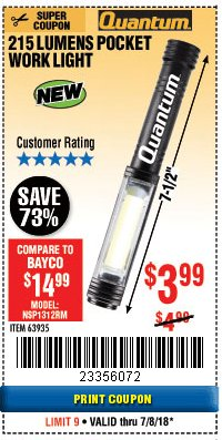 Harbor Freight Coupon 215 LUMENS POCKET WORK LIGHT Lot No. 63935 Expired: 7/8/18 - $3.99