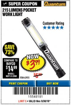 Harbor Freight Coupon 215 LUMENS POCKET WORK LIGHT Lot No. 63935 Expired: 9/30/18 - $3.99