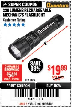 Harbor Freight Coupon 220 LUMENS RECHARGEABLE MECHANIC'S FLASHLIGHT Lot No. 63932 EXPIRES: 10/28/18 - $19.99