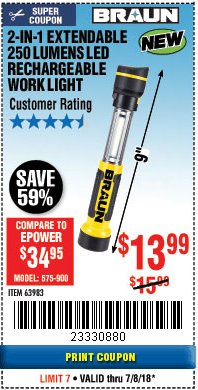 Harbor Freight Coupon 2-IN-1 EXTENDABLE 250 LUMENS LED RECHARGEABLE WORK LIGHT Lot No. 63983 Expired: 7/8/18 - $13.99