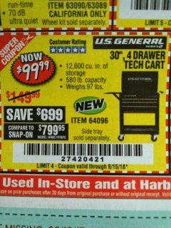 "Harbor Freight Coupon 30"", 4 DRAWER TECH CART Lot No. 64818/56391/56387/56386/56392/56394/56393/64096 Expired: 9/15/18 - $99.99"