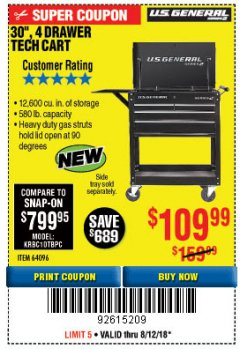 "Harbor Freight Coupon 30"", 4 DRAWER TECH CART Lot No. 64818/56391/56387/56386/56392/56394/56393/64096 Expired: 8/12/18 - $109.99"