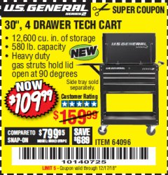 "Harbor Freight Coupon 30"", 4 DRAWER TECH CART Lot No. 64818/56391/56387/56386/56392/56394/56393/64096 Expired: 12/17/18 - $109.99"