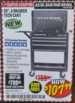 "Harbor Freight Coupon 30"", 4 DRAWER TECH CART Lot No. 64818/56391/56387/56386/56392/56394/56393/64096 Expired: 3/31/19 - $107.99"