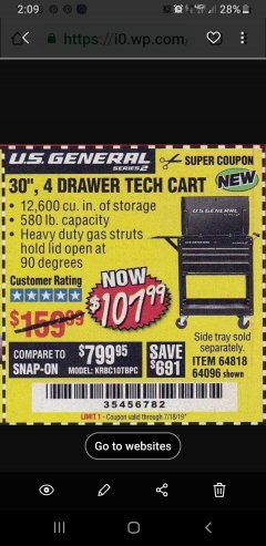 "Harbor Freight Coupon 30"", 4 DRAWER TECH CART Lot No. 64818/56391/56387/56386/56392/56394/56393/64096 Expired: 7/18/19 - $107.99"
