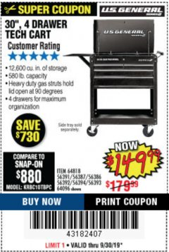 "Harbor Freight Coupon 30"", 4 DRAWER TECH CART Lot No. 64818/56391/56387/56386/56392/56394/56393/64096 Expired: 9/30/19 - $149.99"