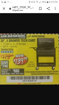 "Harbor Freight Coupon 30"", 4 DRAWER TECH CART Lot No. 64818/56391/56387/56386/56392/56394/56393/64096 Expired: 1/9/20 - $139.99"