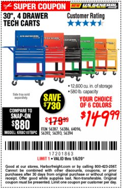 "Harbor Freight Coupon 30"", 4 DRAWER TECH CART Lot No. 64818/56391/56387/56386/56392/56394/56393/64096 Expired: 1/6/20 - $149.99"