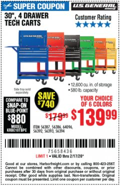 "Harbor Freight Coupon 30"", 4 DRAWER TECH CART Lot No. 64818/56391/56387/56386/56392/56394/56393/64096 Expired: 2/17/20 - $139.99"
