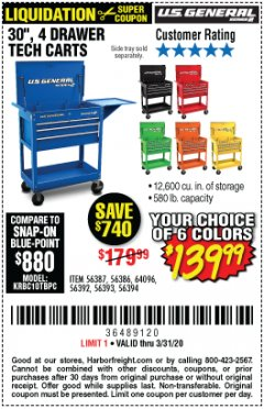 "Harbor Freight Coupon 30"", 4 DRAWER TECH CART Lot No. 64818/56391/56387/56386/56392/56394/56393/64096 Expired: 3/31/20 - $139.99"