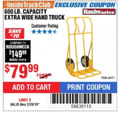 Harbor Freight ITC Coupon 600 LB CAPACITY EXTRA WIDE HAND TRUCK Lot No. 66171 Expired: 2/26/19 - $79.99