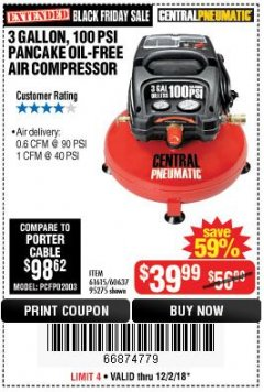 Harbor Freight Coupon 3 GALLON, 100 PSI PANCAKE OIL-FREE AIR COMPRESSOR Lot No. 61615/60637/95275 Expired: 12/2/18 - $39.99