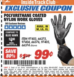 Harbor Freight ITC Coupon POLYURETHANE COATED NYLON WORK GLOVES Lot No. 66374/97403/66375/97404/66376/97405 Valid Thru: 6/30/19 - $0.99