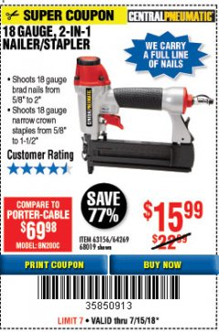 Harbor Freight Coupon 18 GAUGE, 2-IN-1 NAILER/STAPLER Lot No. 63156/64269/68019 Expired: 7/31/18 - $15.99