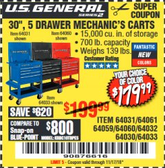 "Harbor Freight Coupon 30"", 5 DRAWER MECHANIC'S CARTS (RED, BLUE & BLACK) Lot No. 64031/64033/64032/64030/61427/64059/64060/64061/63308/95272 Expired: 11/17/18 - $179.99"