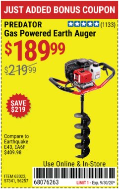 "Harbor Freight Coupon PREDATOR 2 HP GAS POWERED EARTH AUGER WITH 6"" BIT Lot No. 63022/56257 Expired: 9/30/20 - $189.99"