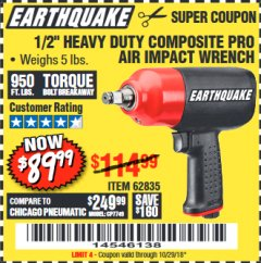 "Harbor Freight Coupon 1/2"" HEAVY DUTY COMPOSITE PRO AIR IMPACT WRENCH Lot No. 62835 Expired: 10/29/18 - $89.99"