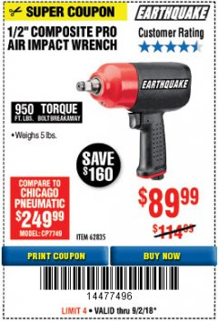 "Harbor Freight Coupon 1/2"" HEAVY DUTY COMPOSITE PRO AIR IMPACT WRENCH Lot No. 62835 Expired: 9/2/18 - $89.99"