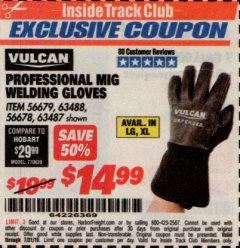 Harbor Freight ITC Coupon PROFESSIONAL MIG WELDING GLOVES Lot No. 63488 Valid Thru: 7/31/19 - $14.99