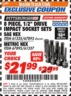 "Harbor Freight ITC Coupon 8 PIECE, 1/2"" DRIVE IMPACT SOCKET SET SAE HEX Lot No. 67895/61337 Expired: 7/31/18 - $21.99"