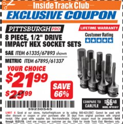 "Harbor Freight ITC Coupon 8 PIECE, 1/2"" DRIVE IMPACT SOCKET SET SAE HEX Lot No. 67895/61337 Expired: 10/31/18 - $21.99"