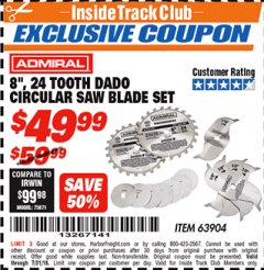 "Harbor Freight ITC Coupon 8"", 24 TOOTH DADO CIRCULAR SAW BLADE SET Lot No. 63904 Expired: 7/31/18 - $49.99"