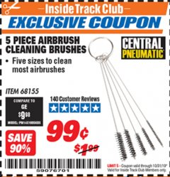 Harbor Freight ITC Coupon 5 PIECE AIRBRUSH CLEANING BRUSHES Lot No. 68155 Expired: 10/31/19 - $0.99