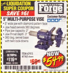 "Harbor Freight Coupon 5"" MULTI-PURPOSE VISE Lot No. 67415/61163/64413 Expired: 6/30/18 - $54.99"