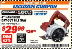 "Harbor Freight ITC Coupon 4"" HANDHELD DRY-CUT TILE SAW Lot No. 68298/62296 Expired: 7/31/18 - $29.99"