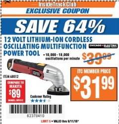 Harbor Freight ITC Coupon 12 VOLT LITHIUM-ION CORDLESS MULTIFUNCTION POWER TOOL Lot No. 68012 Expired: 9/11/18 - $31.99