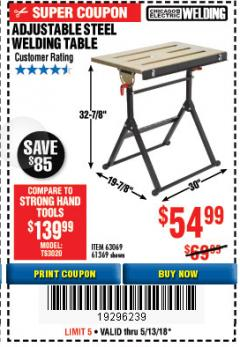 Harbor Freight Coupon ADJUSTABLE STEEL WELDING TABLE Lot No. 63069/61369 Expired: 5/13/18 - $54.99