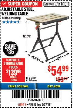 Harbor Freight Coupon ADJUSTABLE STEEL WELDING TABLE Lot No. 63069/61369 Expired: 5/27/18 - $54.99