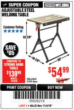 Harbor Freight Coupon ADJUSTABLE STEEL WELDING TABLE Lot No. 63069/61369 EXPIRES: 11/4/18 - $54.99