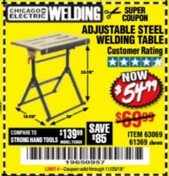 Harbor Freight Coupon ADJUSTABLE STEEL WELDING TABLE Lot No. 63069/61369 Expired: 11/20/18 - $54.99