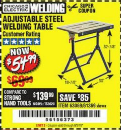 Harbor Freight Coupon ADJUSTABLE STEEL WELDING TABLE Lot No. 63069/61369 Valid Thru: 8/5/19 - $54.99